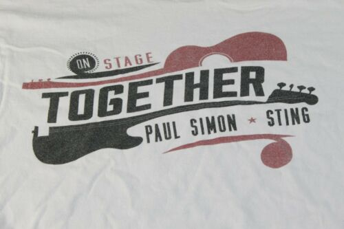 ON STAGE TOGETHER PAUL SIMON STING gray t-shirt L