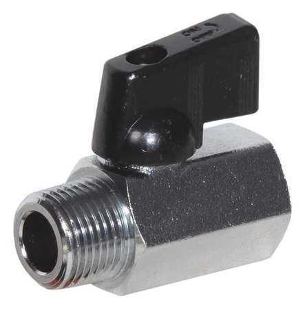 "ZORO SELECT G-DCMV-50 1//2/"" FNPT x MNPT Nickel Brass Mini Ball Valve Inline"