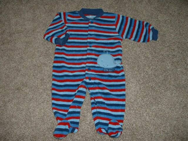 Carter's Baby Boys Striped Whale Terry Pajamas Sleeper Size 3M 3 Months 0-3 mos
