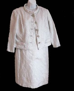 "Metallic Silver Brocade DRESS Vintage 60's Bust 38"" JACKET SHEATH B Greenroom"