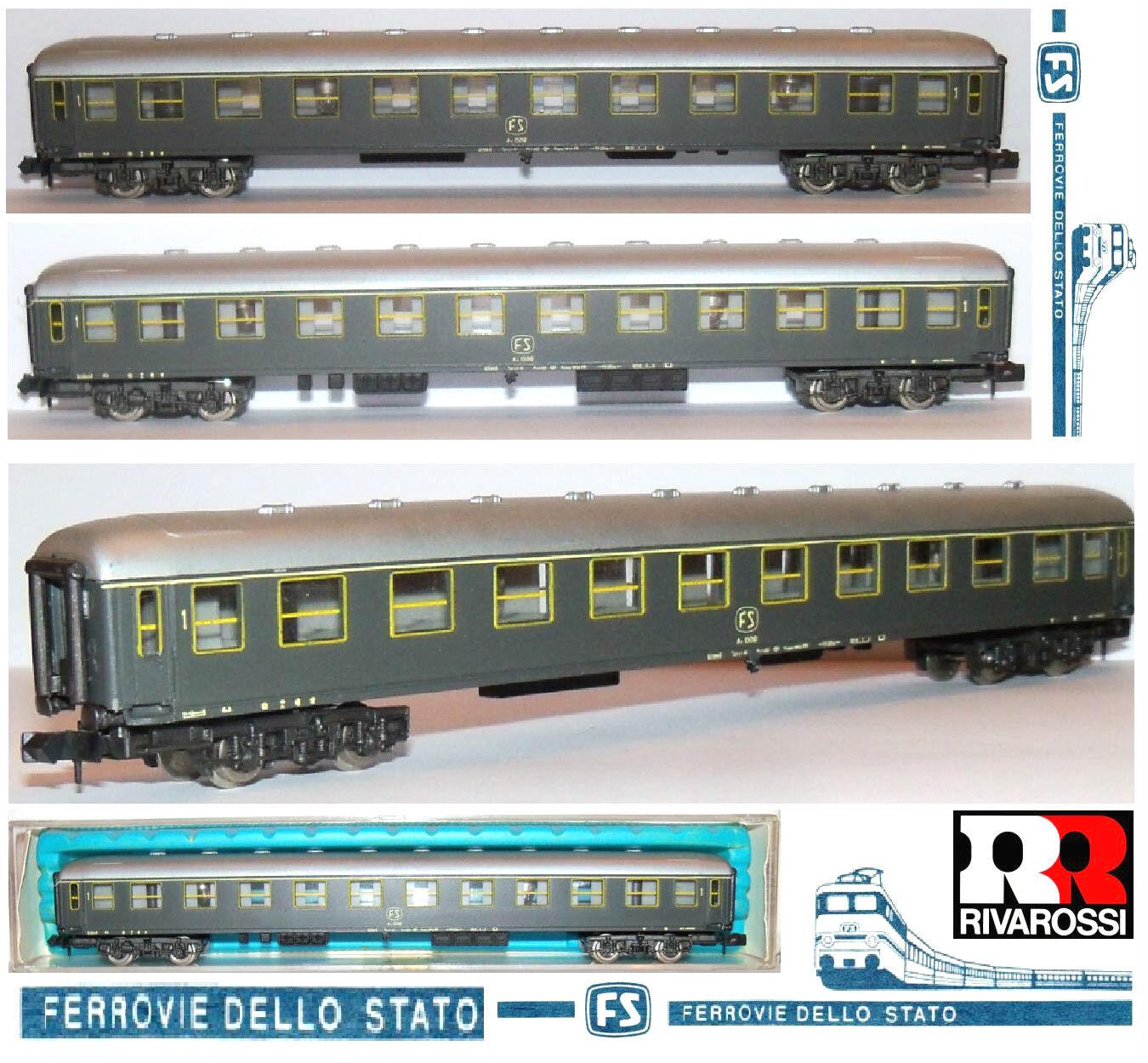 RIVAROSSI 2680 VINTAGE CARROZZA PASSEGGERI di 1a CLASSE FS con LUCI BOX SCALA-N