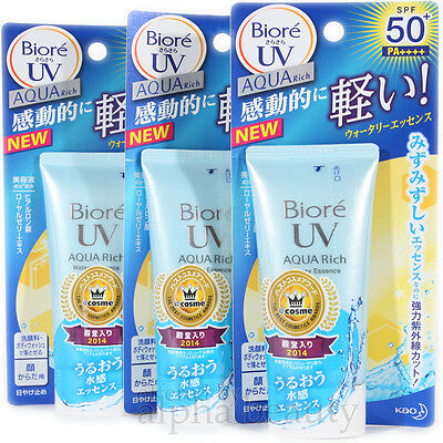 Kao Japan Biore UV Aqua Rich Watery Essence SPF50+ PA++++ (50g/1.7 oz) x 3 Items