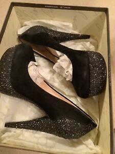Enzo Angiolini Black Rhinestone Beccalynn Suede Platforms Heels sz 9 - $199 NIB