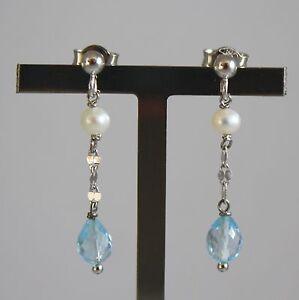 Pendientes-de-Oro-Blanco-750-18Ct-con-Perlas-Blancas-y-Gotas-de-Topacio-Azul