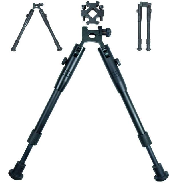 Adjustable Picatinny Spring Return Foldable Hunting Rifle Bipod w/ Barrel Mount