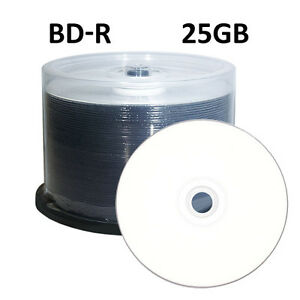 100-Blu-Ray-BD-R-4x-25GB-White-Inkjet-HUB-Printable-NEW