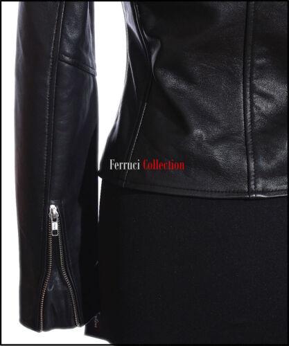 Veronica Donna Nero Biker con Borchie Stile Retrò Fashion Lambskin LEATHER JACKET