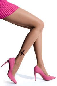 Blinking-Natural-Beige-Black-Flamingo-Tattoo-Effect-Women-Tights-Pantyhose-T119