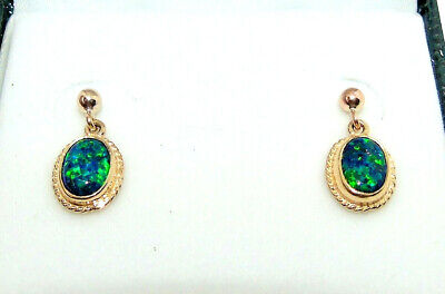 20/% OFF  9CT HALLMARKED YELLOW GOLD CABOCHON OVAL FIRE OPAL 16MM DROP EARRINGS