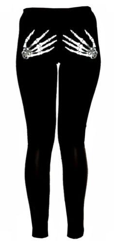 Womens Ladies Gothic Skeleton Bone Halloween Hands Printed Pants Leggings 8-26