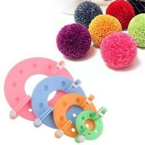1Set-4Sizes-Pom-Maker-Fluff-Ball-Weaver-Needle-Knitting-Wool-Tool-Yarn-Kit-UK