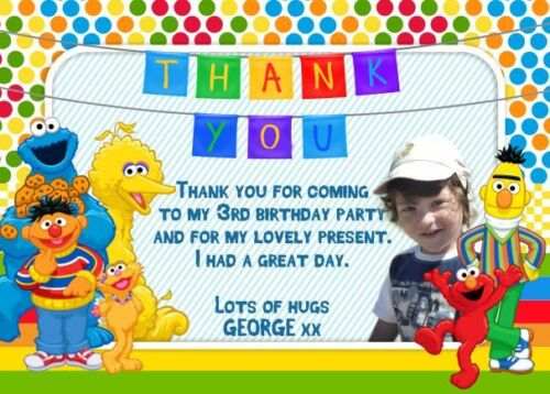 10 x Personalised Photo Birthday Party Invitations//Thank you Cards SESAME STREET