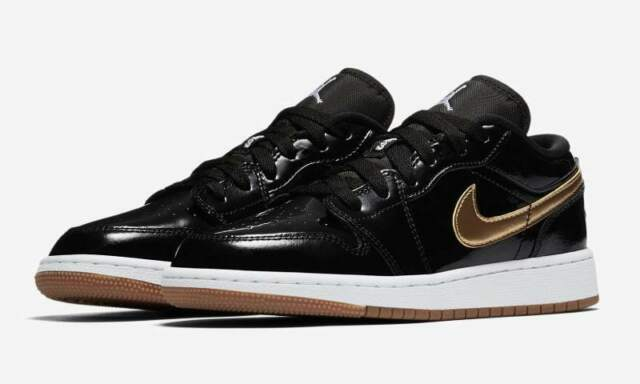 new concept a1b97 18ce4 Nike Air Jordan 1 Retro Low OG Black Metallic Gold Gum White Patent Leather  Sz 9