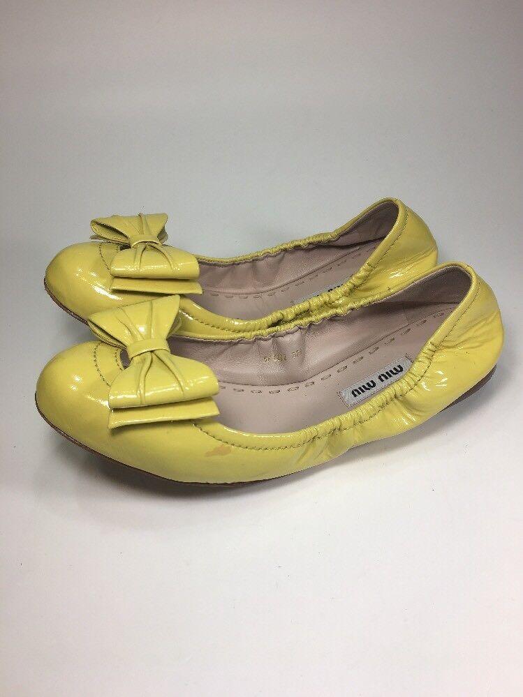 Miu Miu By Prada Prada By $670 Yellow Patent Leather Ballet Flats Womens Size 7.5 M 257113