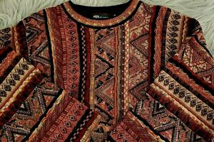 Vintage-Herren-Tundra-1990-039-s-Multi-farbigen-034-COOGI-Style-034-3d-Textur-Sweater-SZ-L
