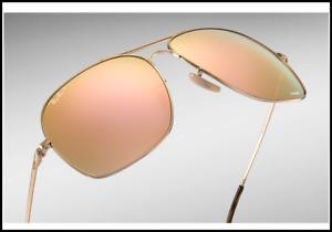 1cb9ea90ca NWT Ray Ban RB3587CH 001 10 61-15 Pink Mirror Gold frame CHROMANCE ...