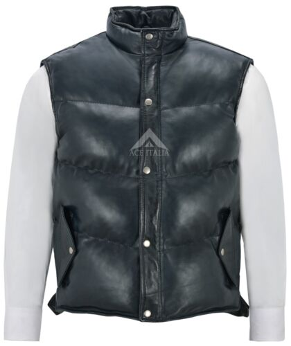 Men/'s Puffer Leather Waistcoat Navy Padded Lambskin Leather Casual Vest Style