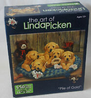 Linda Picken Pile of Gold jigsaw puzzle Unopened 550 piece Lab Dogs