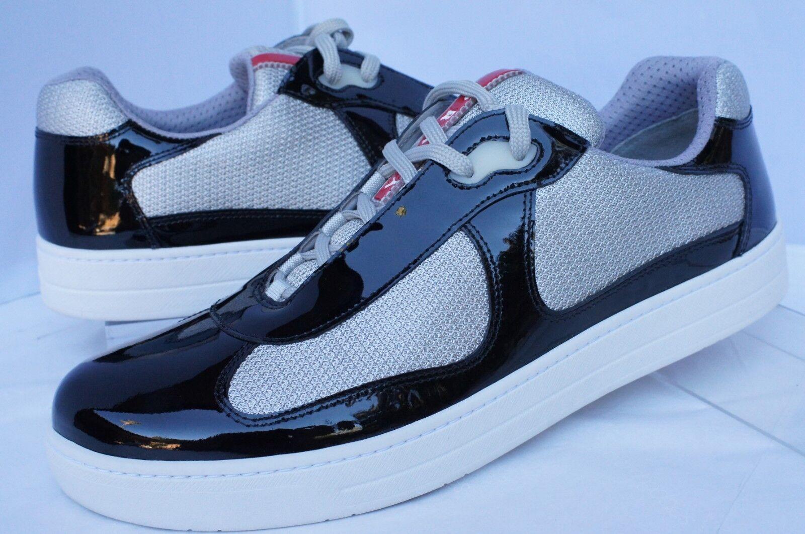 New Prada Men's Tennis Shoes Sneakers Size 9 Black Vernice Bike Calzature Uomo