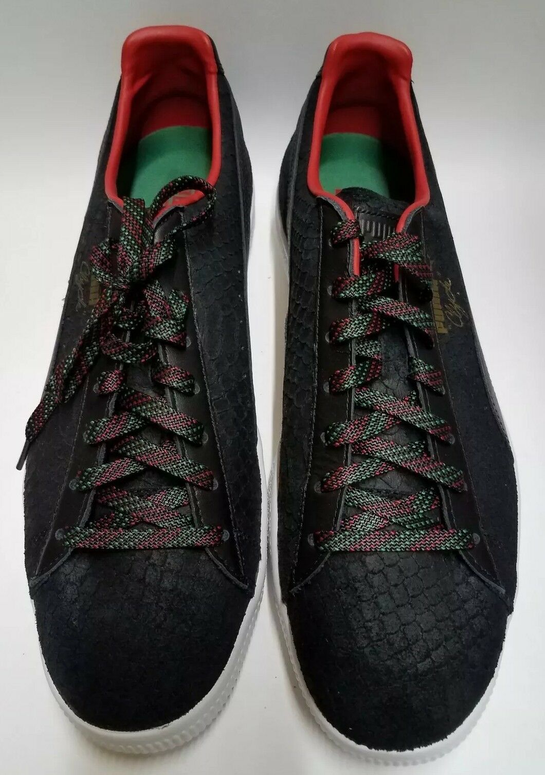 MENS PUMA CLYDE GCC negro rojo LIMITED EDITION FRASIER CASUAL zapatos Sz 13