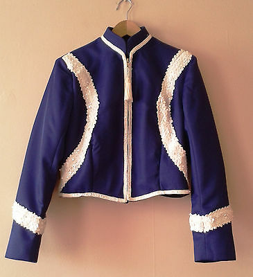 Purple sequinned American majorette / musical band zipped jacket cabaret 14 16