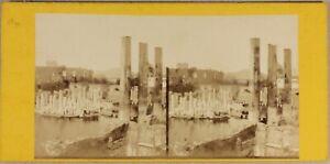 Italia-Pozzuoli-Tempio-Da-Serapide-c1870-Foto-Stereo-Vintage-Albumina