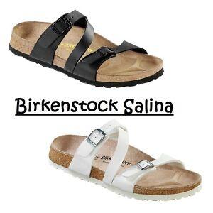 6957ffc825e8 Birkenstock Salina Sandals Shoes Slide Birko-Flor Womens White Black ...