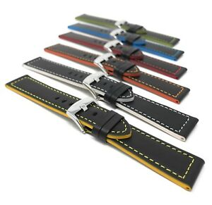 Mens-039-Leather-Watch-Strap-Band-18-24mm-fits-Ferrari-Hamilton-Fossil-amp-More