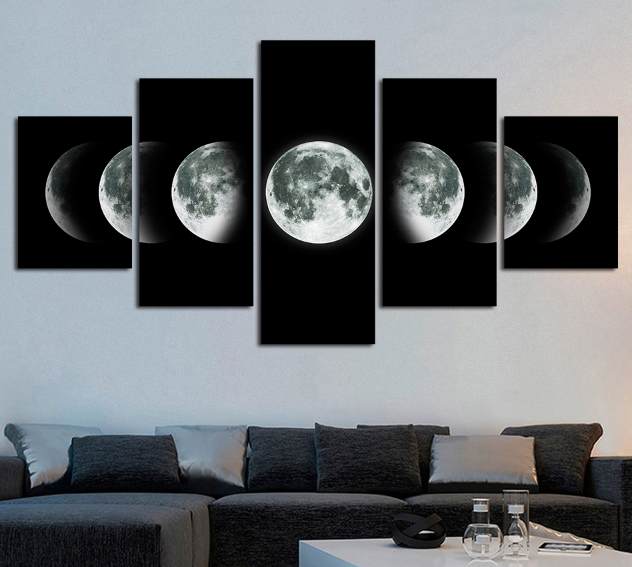 Moon Cycle Phases Shape 5 panel canvas Wall Art Home Decor Print Poster