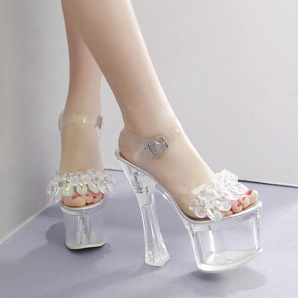 Sandale stiletto eleganti 18 cm trasparente plateau simil pelle eleganti 9943