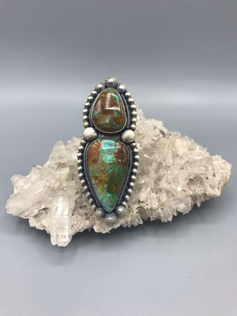 Sterling Silver /& Royston Turquoise Statement Ring Size 8-8.5