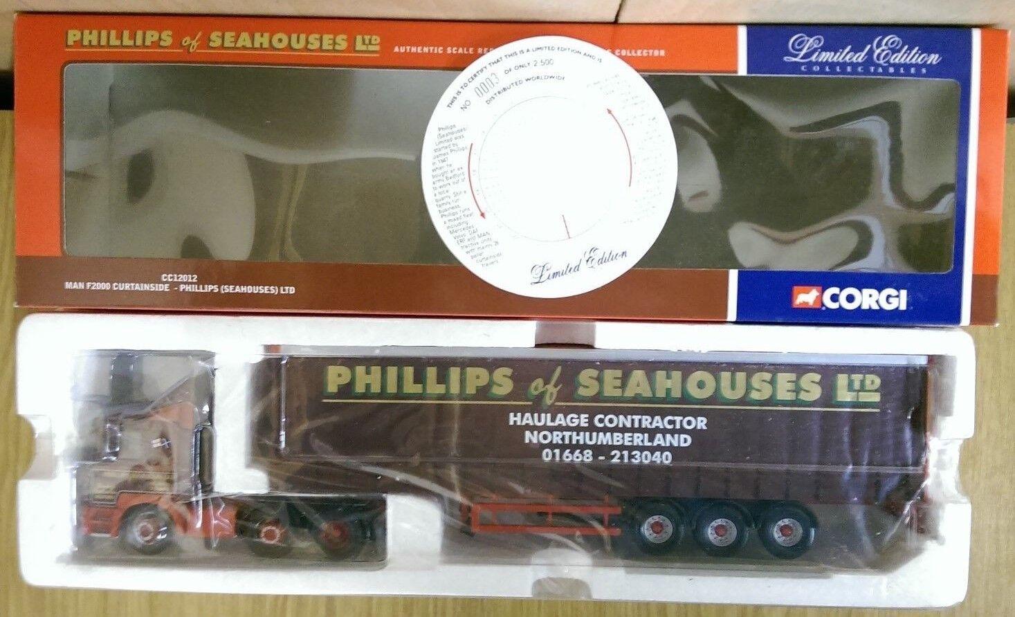 Corgi CC12012 MAN F2000 Curtainside Phillips (Seahouses) Ltd Ed No. 0003 of 2500