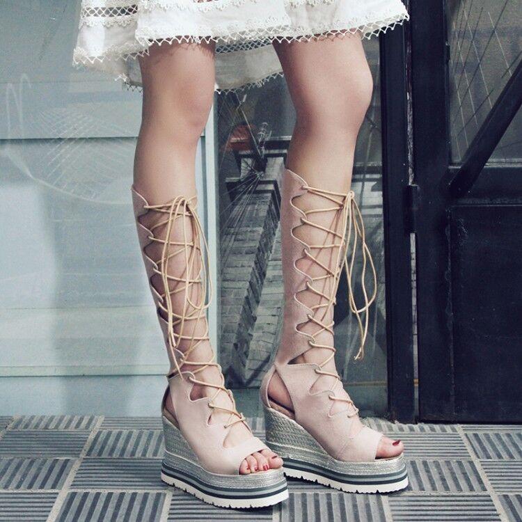 Fashuion Para Mujer Con Cordones Sandalias Gladiador Con Con Con Tiras Moda botas Hasta La Rodilla Cuña  ofreciendo 100%