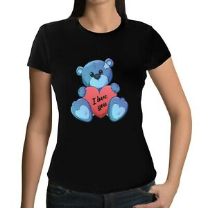 Happy-Valentines-Day-T-shirt-Valentine-039-s-T-shirt-Tee-Top-Ladies-Gift-Teddy
