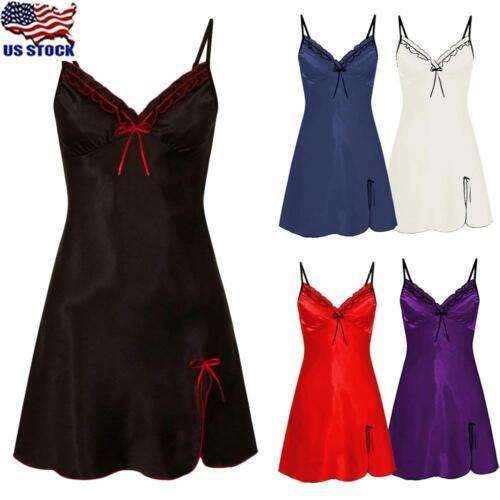 Womens Lace Satin Silk Nightdress Robe Nightie Sleepwear Nightwear Pajamas USA