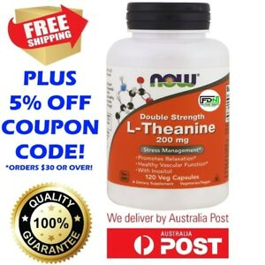 Details about L-Theanine DOUBLE STRENGTH 200mg 120 Capsules by NOW Foods -  BIG BOTTLE VALUE!