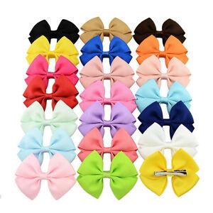 20pcs-Baby-Kids-Girls-Grosgrain-Ribbon-Bow-Hair-Clip-Hairpin-Alligator-Clips-MW
