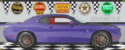 "2016 DODGE CHALLENGER PLUM CRAZY HELLCAT CUSTOM SCENE BANNER SIGN ART 36/"" x 90/"""