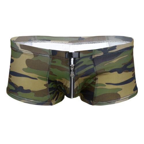 Herren Camouflage Boxershorts Boxer Briefs Shorts Panties mit Reißverschluss