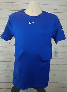 NIKE Pro Hyperstrong Team 4 Pad Blue Compression FOOTBALL Top Shirt Large #24