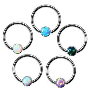 Titanium Opal Captive Bead Ring Eyebrow Labret Lip Piercing Nose Hoop Earring