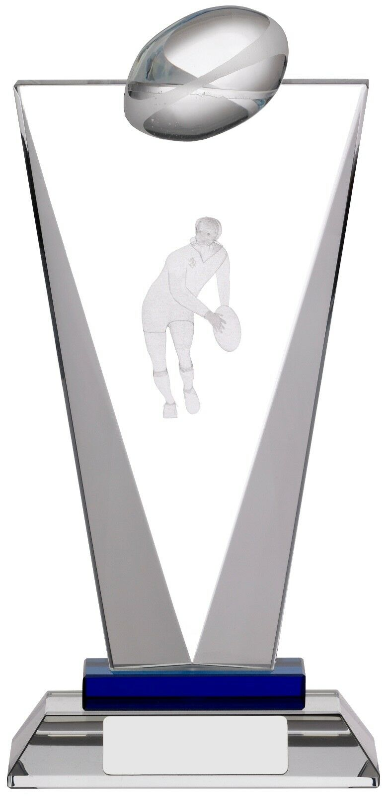 Pinnacle, 3D, Glass Rugby Trophy, Award, 205mm FREE Engraving, (GLM51B) good