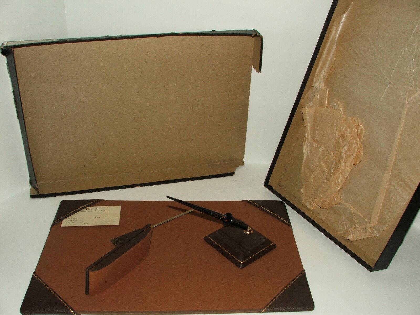 Antique vintage Staco Gingham desk set w  Eversharp 10k gold fountain pen UNUSED