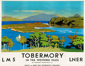 TT94-Vintage-1920-039-s-Tobermory-LNER-LMS-Railway-Travel-Poster-Re-Print-A3-A2