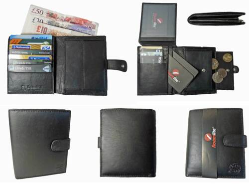 Large Designer Leather Mens Bifold Jacket Wallet 11 Credit Cards Coins Roamlite