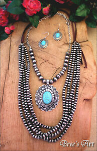 Western-Engraved-Turquoise-Pendant-Navajo-Style-Bead-Layered-Necklace-Set