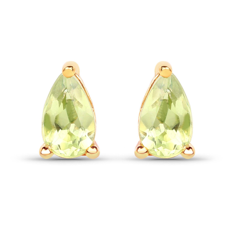 0.44 ct Genuine Peridot Gemstone 10K Yellow gold Earrings Pear Cut Ear Stud Pair