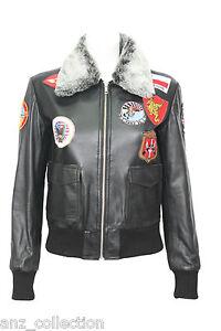 TOP-GUN-Black-Ladies-Jet-Fighter-Bomber-Navy-Air-Force-Fur-Pilot-Leather-Jacket