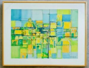MID-CENTURY-MODERN-VINTAGE-ORIGINAL-WATERCOLOR-PAINTING-CUBIST-ABSTRACT-ARTWORK