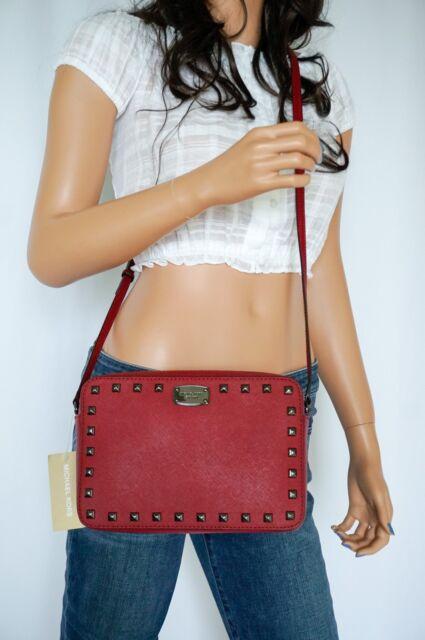 4f05ba110a52 Michael Kors Cherry Saffiano Leather EW Travel Top Zip Crossbody Studded Bag